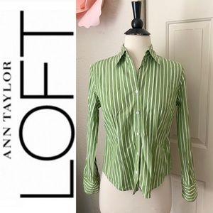 LOFT Ann Taylor Green Striped Button Blouse Sz 2